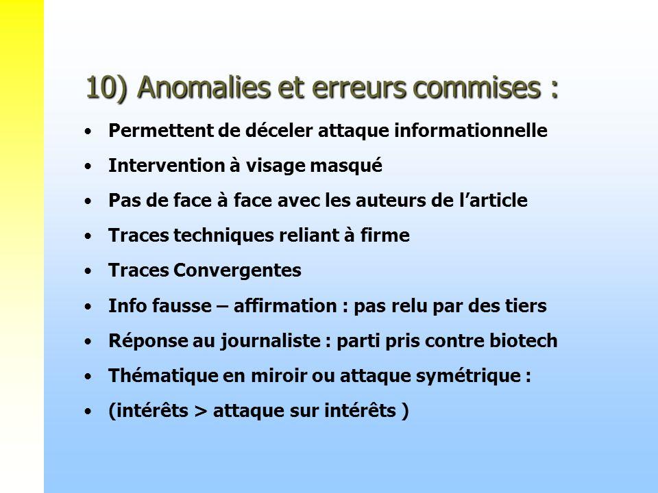 10) Anomalies et erreurs commises : 10) Anomalies et erreurs commises : Permettent de déceler attaque informationnelle Intervention à visage masqué Pa