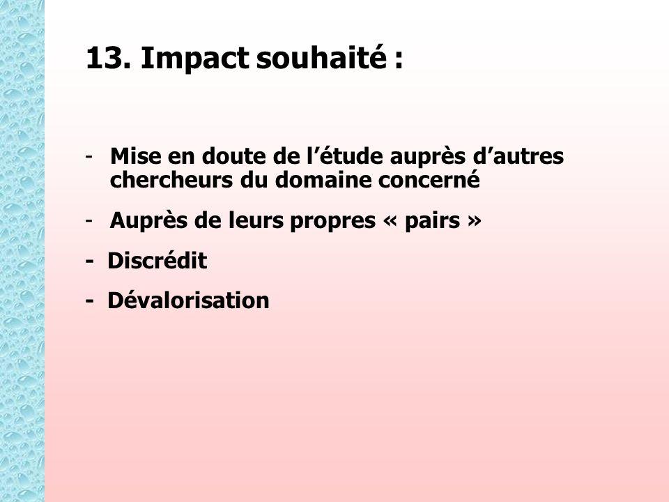 13. Impact souhaité : - -Mise en doute de létude auprès dautres chercheurs du domaine concerné - -Auprès de leurs propres « pairs » - Discrédit - Déva