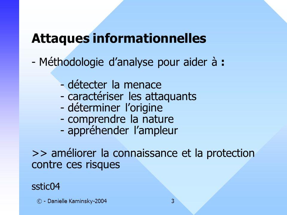 © - Danielle Kaminsky-20043 Attaques informationnelles - Méthodologie danalyse pour aider à : - détecter la menace - caractériser les attaquants - dét