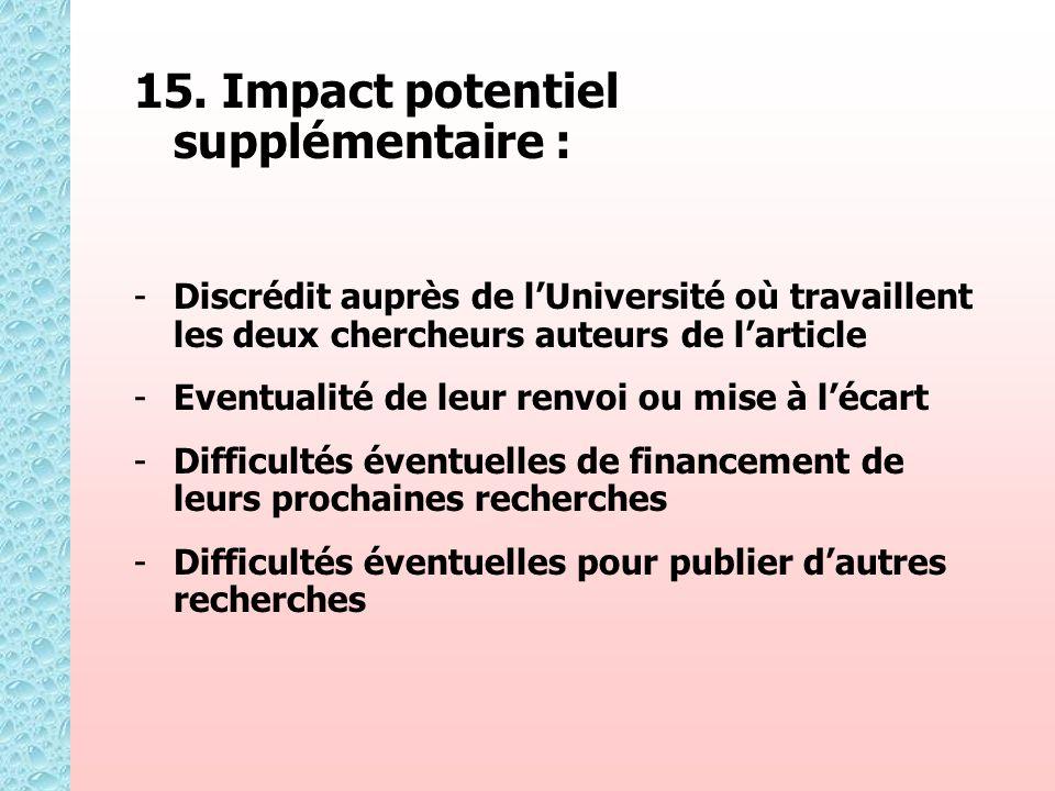 15. Impact potentiel supplémentaire : - -Discrédit auprès de lUniversité où travaillent les deux chercheurs auteurs de larticle - -Eventualité de leur