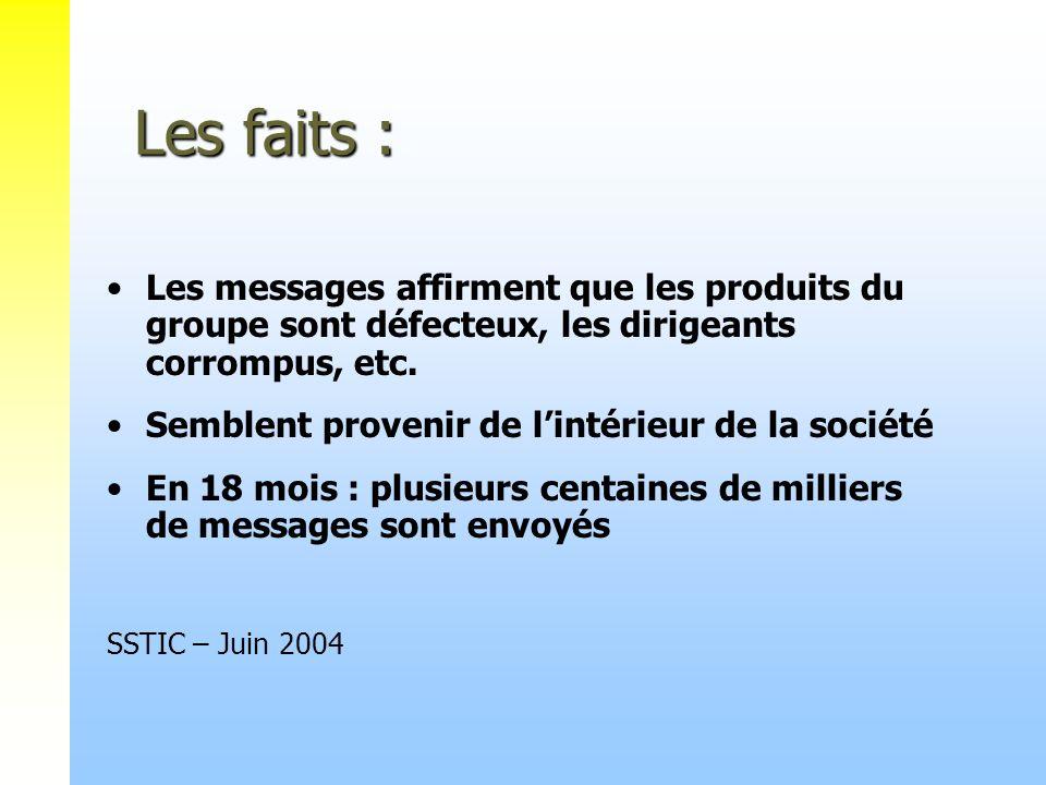 Les faits : Les faits : Les messages affirment que les produits du groupe sont défecteux, les dirigeants corrompus, etc. Semblent provenir de lintérie