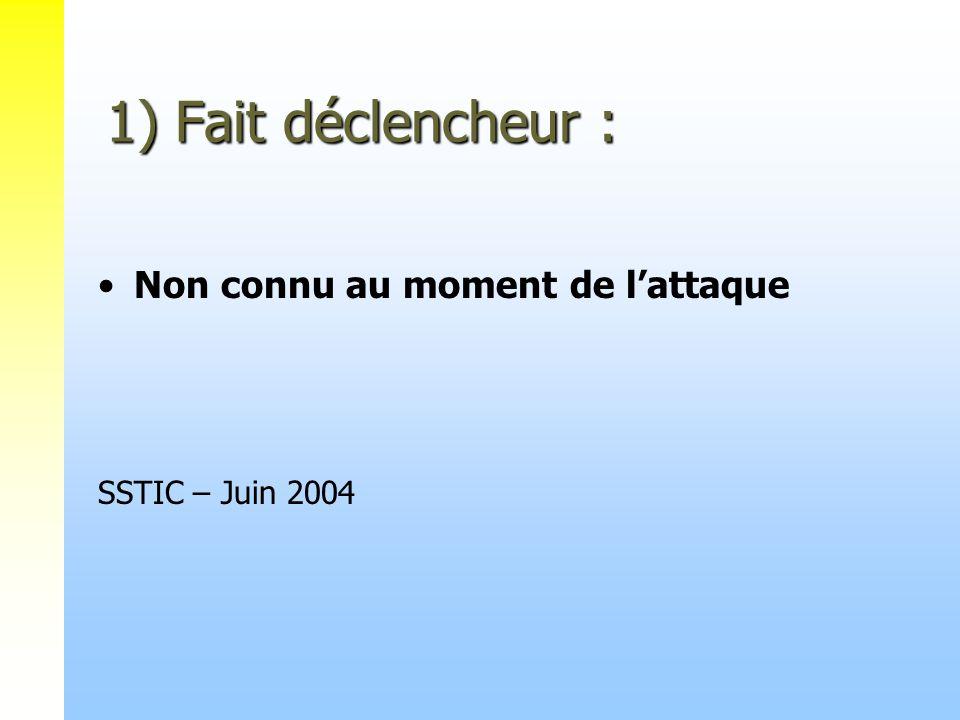 1) Fait déclencheur : Non connu au moment de lattaque SSTIC – Juin 2004