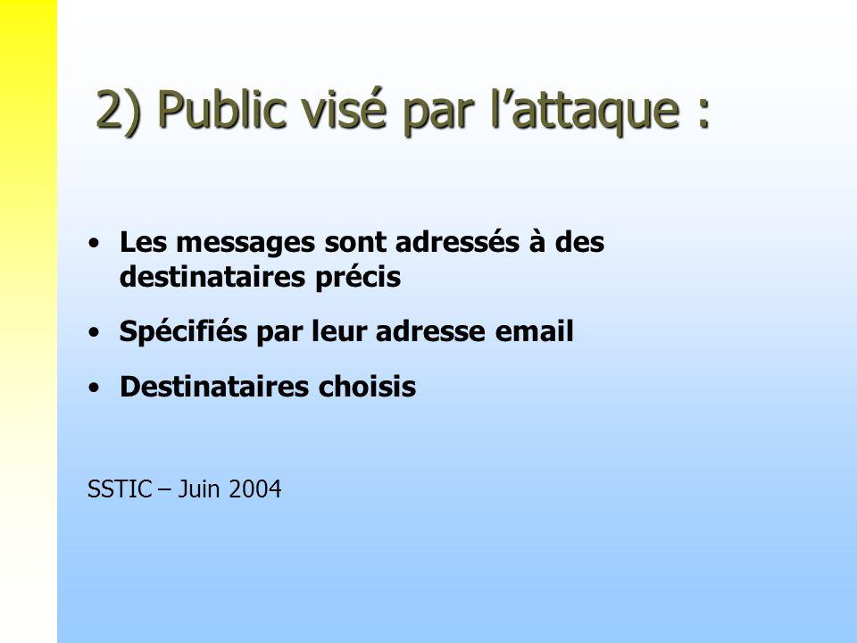 2) Public visé par lattaque : Les messages sont adressés à des destinataires précis Spécifiés par leur adresse email Destinataires choisis SSTIC – Jui