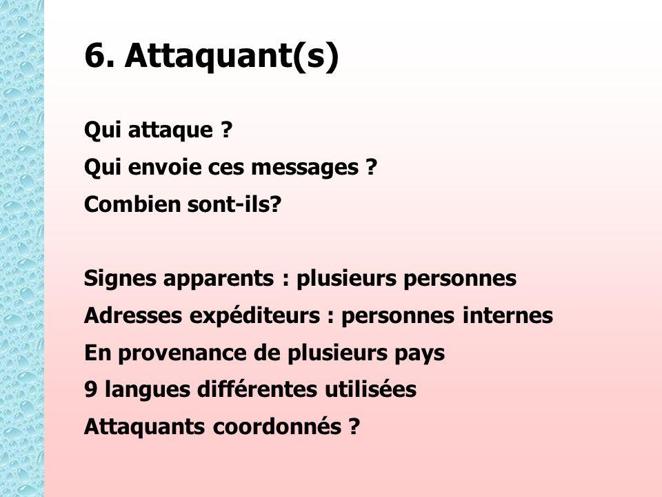 6. Attaquant(s) Qui attaque ? Qui envoie ces messages ? Combien sont-ils? Signes apparents : plusieurs personnes Adresses expéditeurs : personnes inte