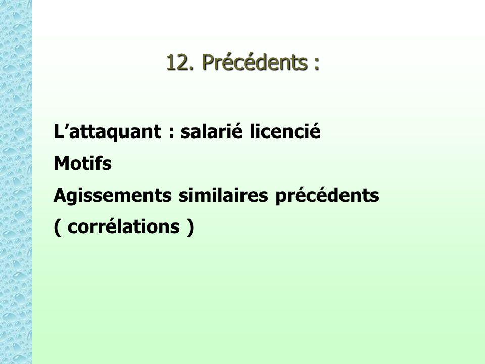 12. Précédents : Lattaquant : salarié licencié Motifs Agissements similaires précédents ( corrélations )