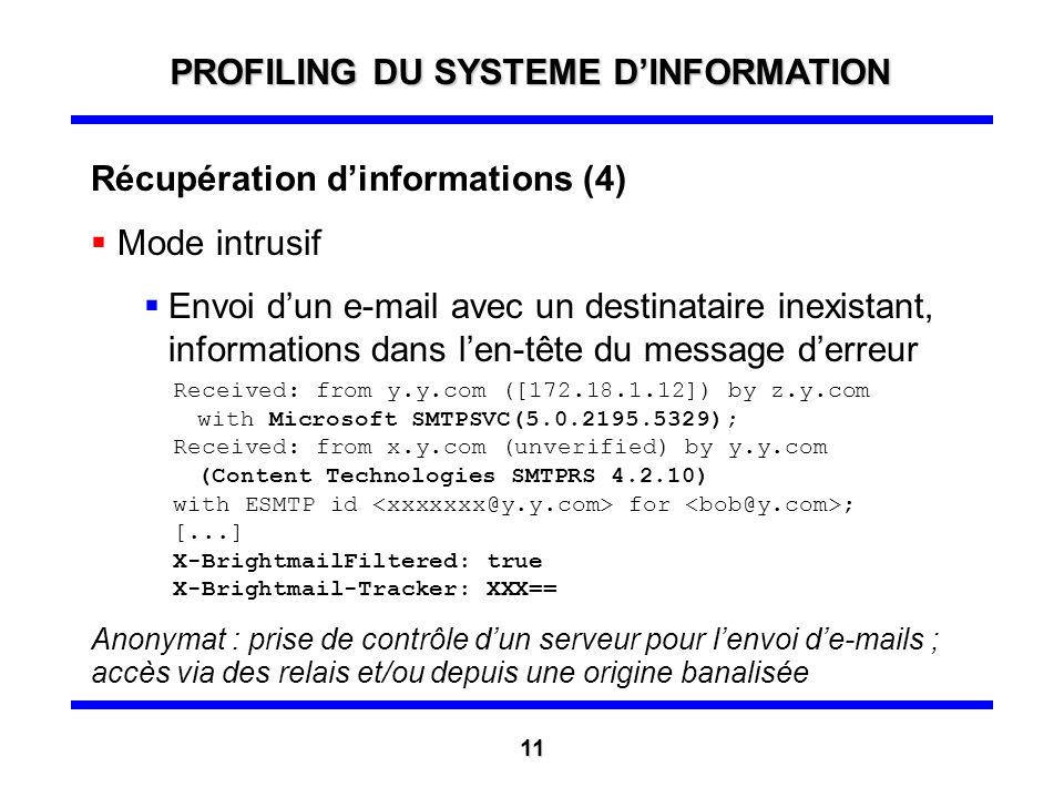 Récupération dinformations (3) Mode intrusif Envoi dun e-mail avec un lien sur une page dun site contrôlé (avec une redirection sur une page officiell