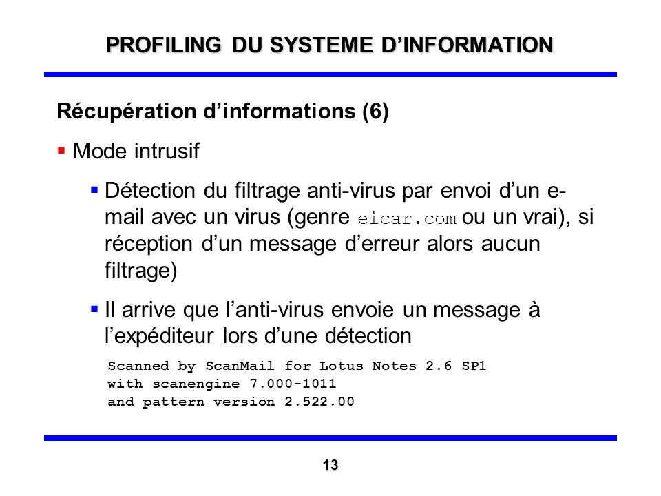 Récupération dinformations (5) Mode intrusif Envoi dun e-mail classique, informations identiques avec en plus la version du client de messagerie X-Mai