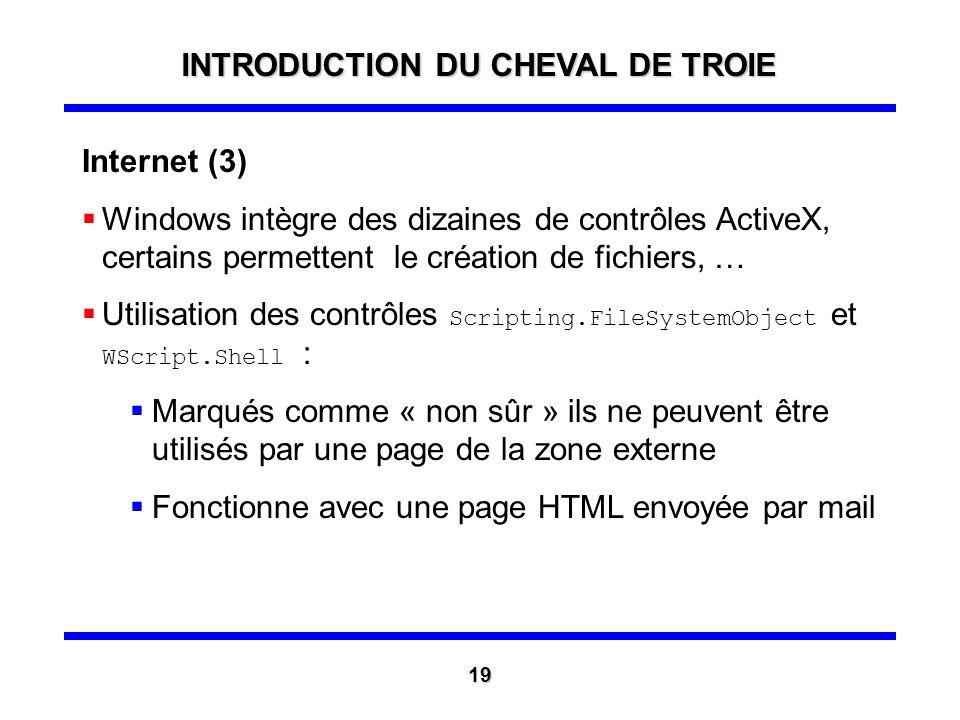 Internet (2) Génération dun ActiveX malicieux effectuant le téléchargement du cheval de Troie, il est marqué comme « sûr » et signé par un faux certif
