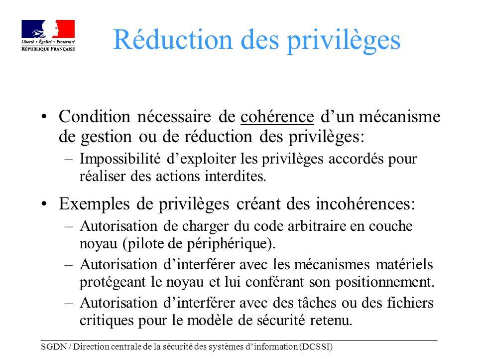 _____________________________________________________________________________________ SGDN / Direction centrale de la sécurité des systèmes dinformation (DCSSI) Exemples de mécanismes Securelevel BSD –Constat: certains privilèges ne sont utiles que pour configurer la machine au démarrage.