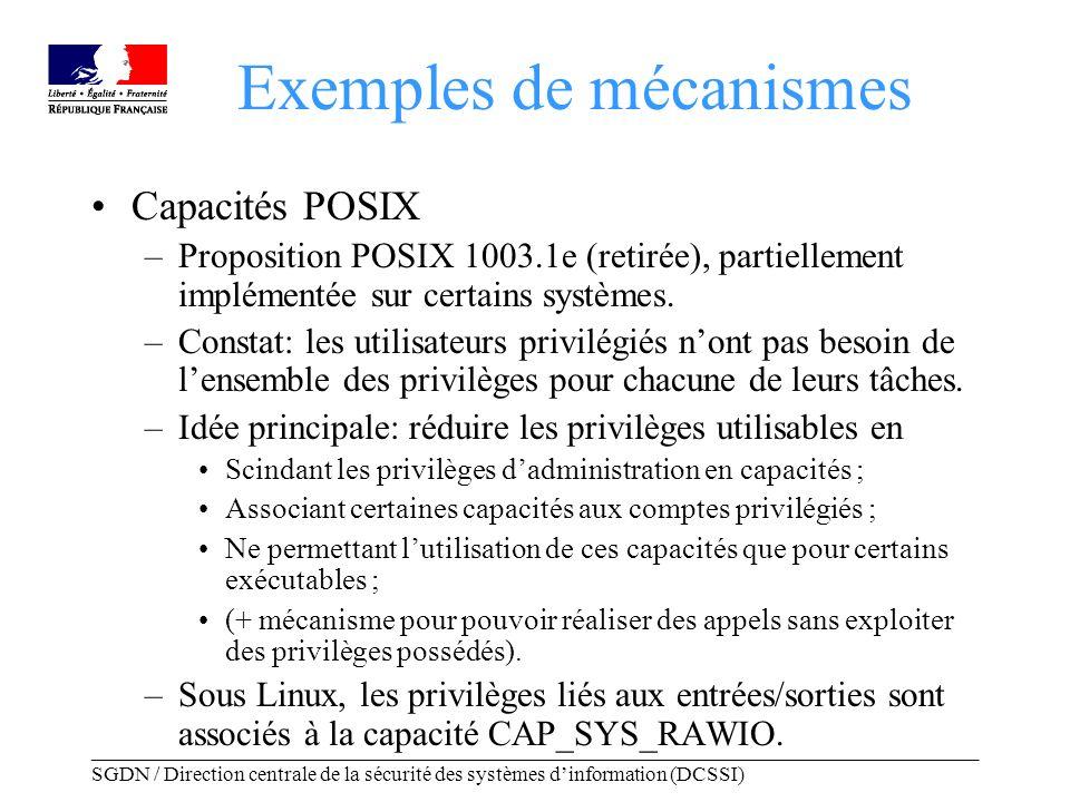 _____________________________________________________________________________________ SGDN / Direction centrale de la sécurité des systèmes dinformation (DCSSI) Exemples de mécanismes Capacités POSIX –Proposition POSIX 1003.1e (retirée), partiellement implémentée sur certains systèmes.