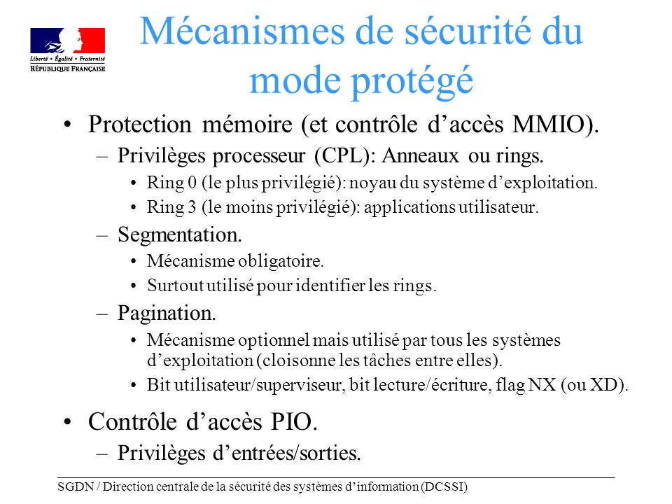 _____________________________________________________________________________________ SGDN / Direction centrale de la sécurité des systèmes dinformation (DCSSI) Privilèges dentrées/sorties Deux mécanismes matériels de délégation: –IOPL (global).