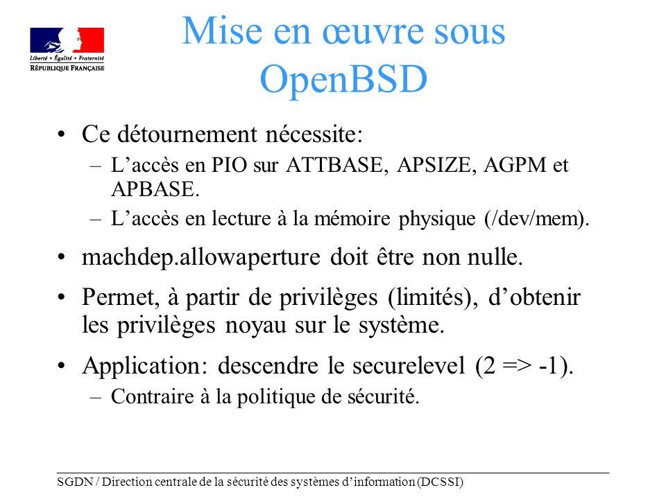 _____________________________________________________________________________________ SGDN / Direction centrale de la sécurité des systèmes dinformation (DCSSI) Mise en œuvre sous OpenBSD Ce détournement nécessite: –Laccès en PIO sur ATTBASE, APSIZE, AGPM et APBASE.