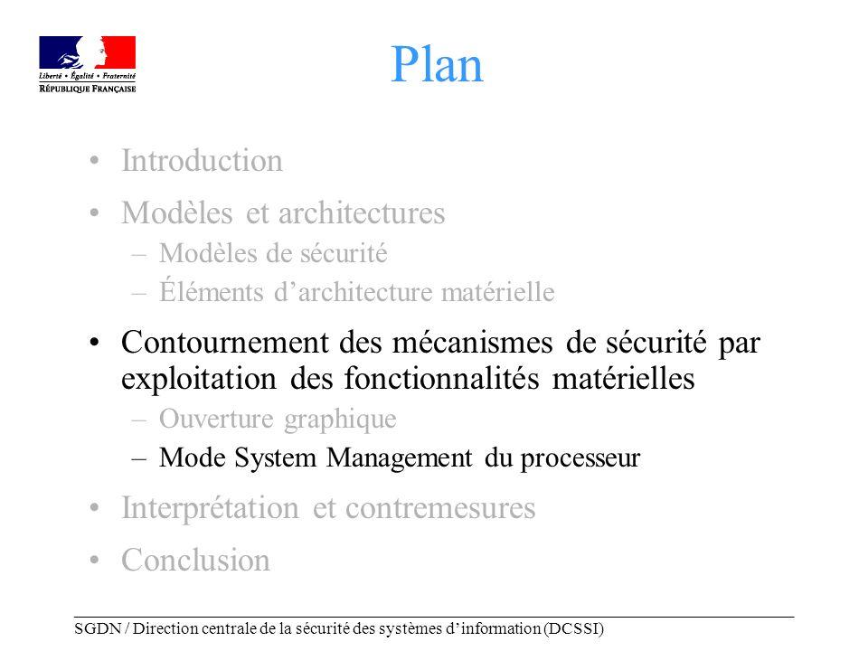 _____________________________________________________________________________________ SGDN / Direction centrale de la sécurité des systèmes dinformation (DCSSI) Mode System Management Mode de « Maintenance »: –Gestion dalimentation efficace.