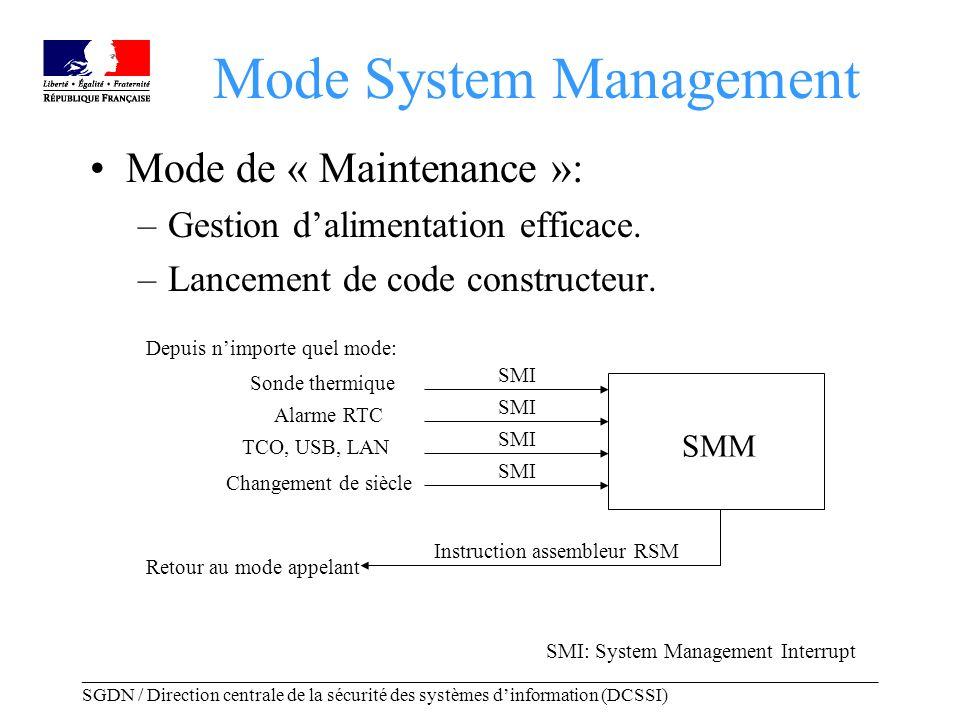 _____________________________________________________________________________________ SGDN / Direction centrale de la sécurité des systèmes dinformation (DCSSI) Mode System Management Passage en mode System Management: –Accès uniquement par une interruption physique (SMI).