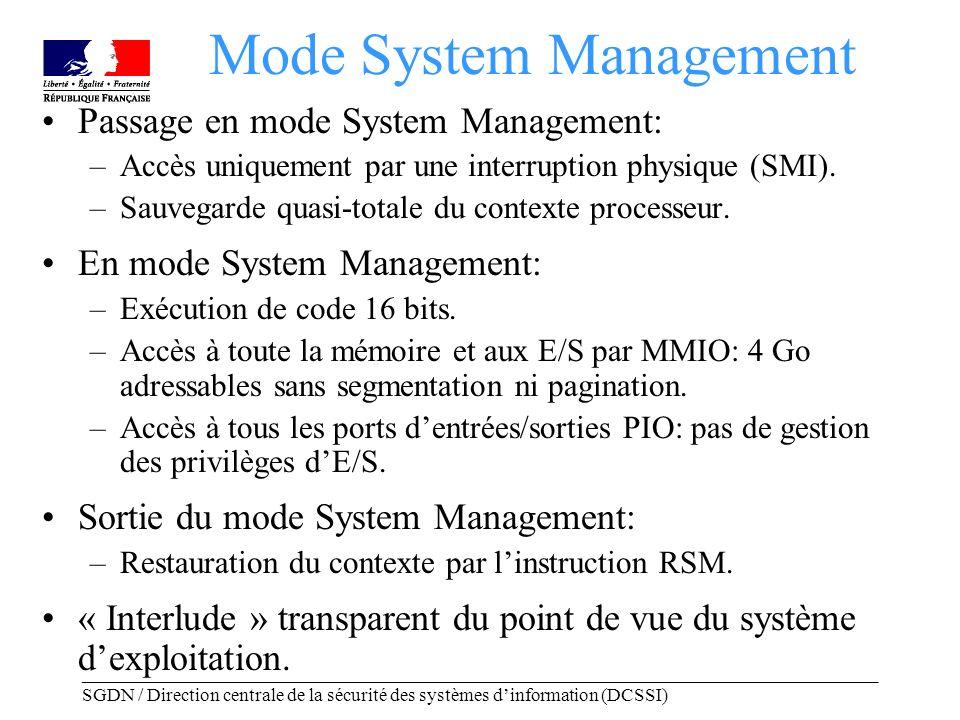 _____________________________________________________________________________________ SGDN / Direction centrale de la sécurité des systèmes dinformation (DCSSI) La SMRAM SMBASE + 0xFFFF SMBASE + 0xFE00 SMBASE +0x8000 SMBASE SMRAM Première instruction exécutée en mode SMM Sauvegarde du contexte processeur Code de la routine de traitement de la SMI Zone de sauvegarde SMBASE + 0x1FFFF - Localisation matérielle au choix du constructeur (typiquement: dans des blocs non adressables de la mémoire principale).