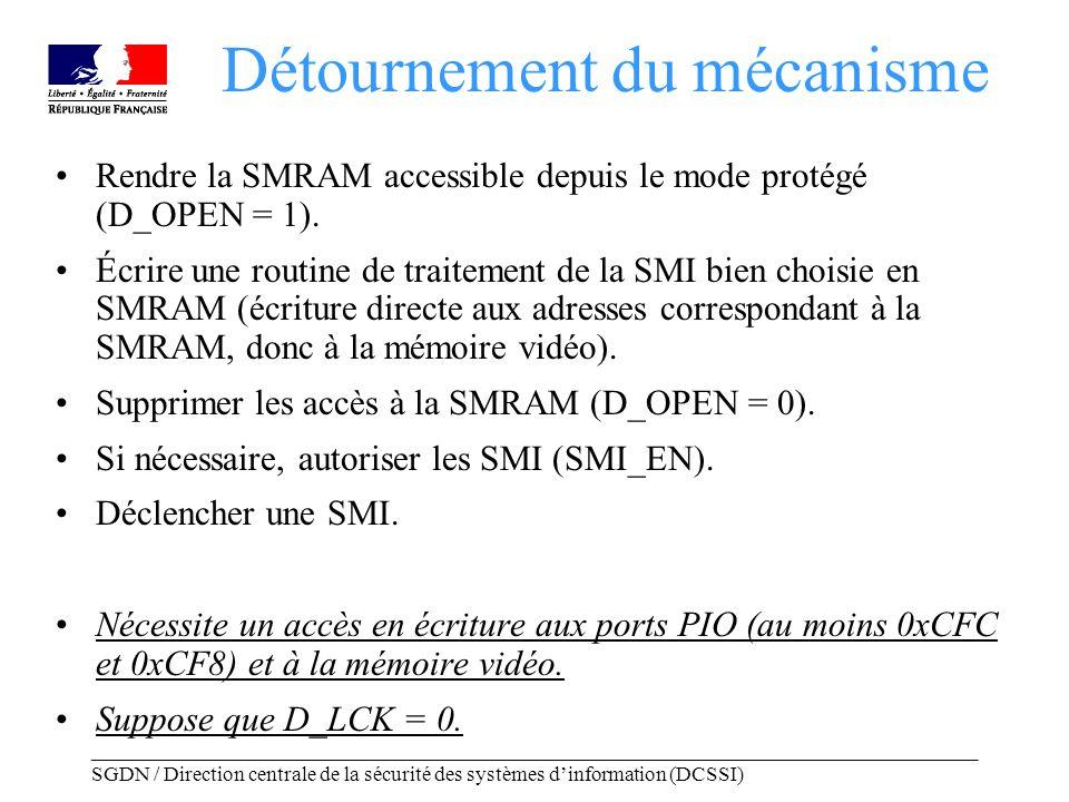 _____________________________________________________________________________________ SGDN / Direction centrale de la sécurité des systèmes dinformation (DCSSI) Rendre la SMRAM accessible depuis le mode protégé (D_OPEN = 1).