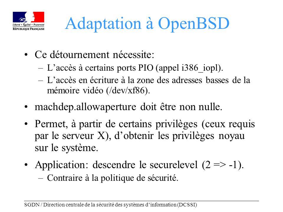 _____________________________________________________________________________________ SGDN / Direction centrale de la sécurité des systèmes dinformation (DCSSI) Adaptation à OpenBSD Ce détournement nécessite: –Laccès à certains ports PIO (appel i386_iopl).