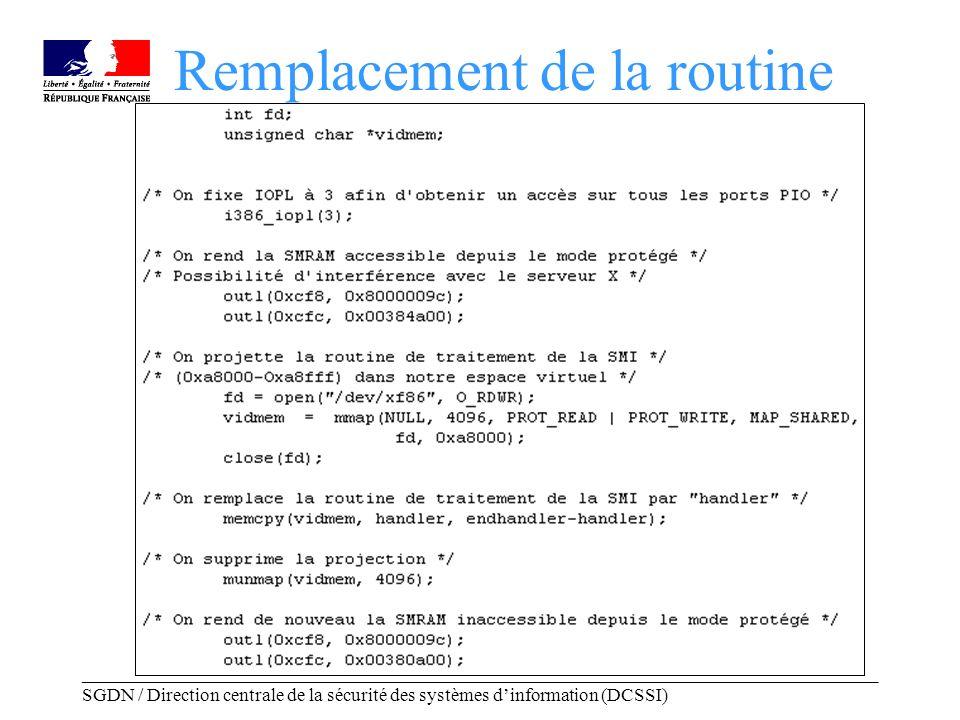 _____________________________________________________________________________________ SGDN / Direction centrale de la sécurité des systèmes dinformation (DCSSI) Remplacement de la routine