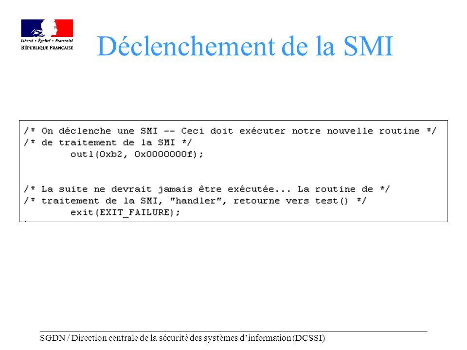 _____________________________________________________________________________________ SGDN / Direction centrale de la sécurité des systèmes dinformation (DCSSI) Observations Laffichage du message relatif au changement de securelevel assure que lon est bien passé par le mode SMM.