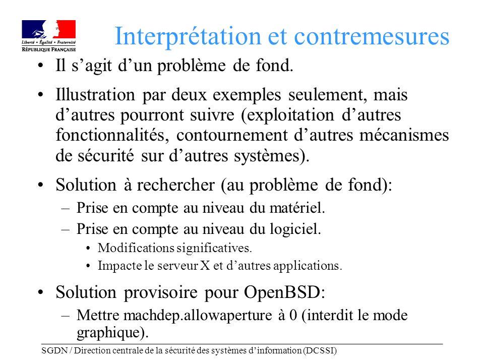 _____________________________________________________________________________________ SGDN / Direction centrale de la sécurité des systèmes dinformation (DCSSI) Interprétation et contremesures Il sagit dun problème de fond.