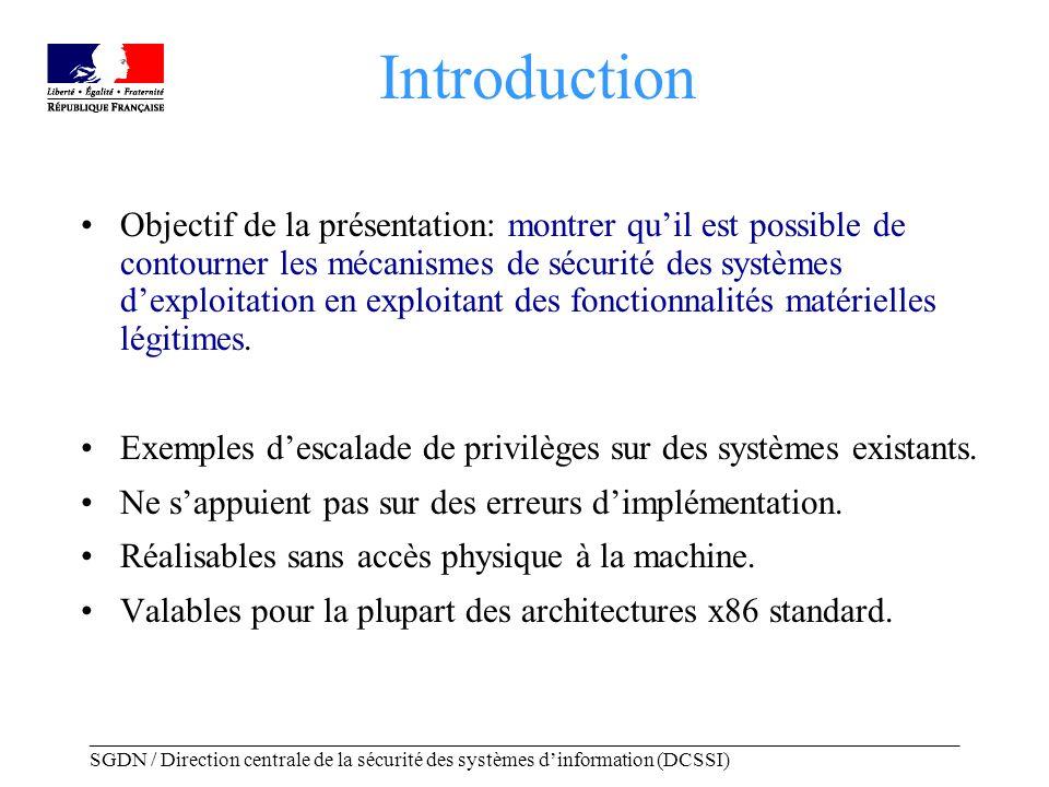 _____________________________________________________________________________________ SGDN / Direction centrale de la sécurité des systèmes dinformation (DCSSI) Plan Introduction Modèles et architectures –Modèles de sécurité –Éléments darchitecture matérielle Contournement des mécanismes de sécurité par exploitation des fonctionnalités matérielles –Ouverture graphique –Mode System Management du processeur Interprétation et contremesures Conclusion
