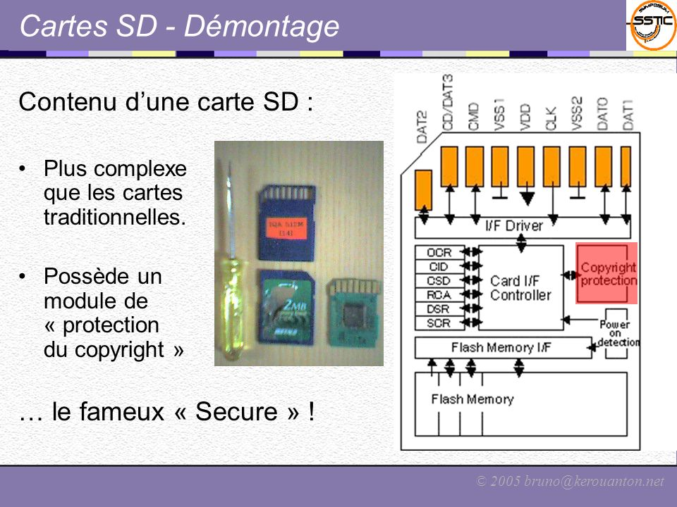 © 2005 bruno@kerouanton.net Cartes SD – Le « Secure » version marketing (ou comment prendre les gens pour des…) Explication officielle du terme « Secure » : « La carte SD Memory (…) est équipée dune sécurité compatible SDMI, ce qui signifie que vous pouvez acheter et télécharger de la musique via internet en toute sécurité.