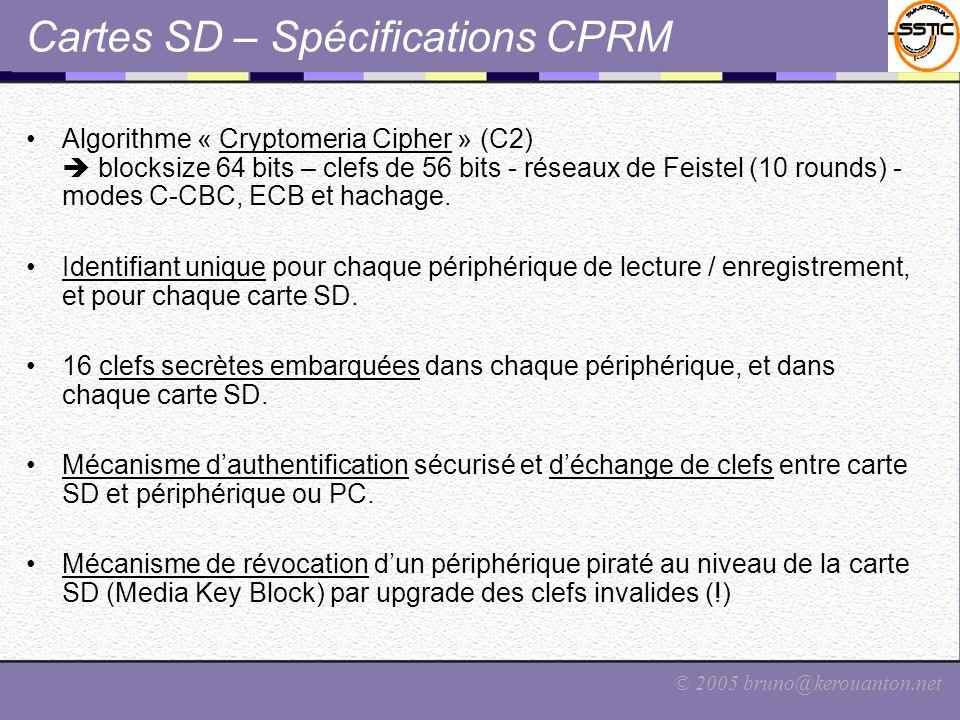 © 2005 bruno@kerouanton.net Cartes SD – Spécifications CPRM Algorithme « Cryptomeria Cipher » (C2) blocksize 64 bits – clefs de 56 bits - réseaux de F