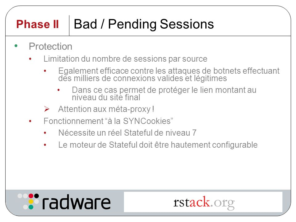 Intelligent Application Switching 37 Bad / Pending Sessions Principe Ouverture de sessions légitimes sans fermeture Atteint les limites de connexions