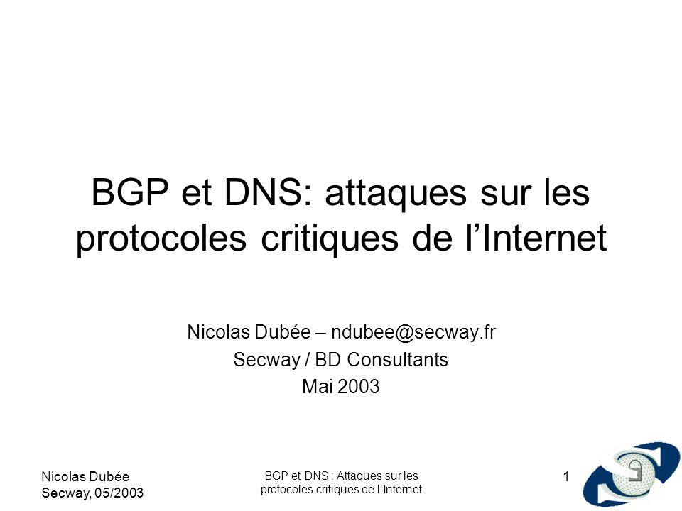 Nicolas Dubée Secway, 05/2003 BGP et DNS : Attaques sur les protocoles critiques de lInternet 1 BGP et DNS: attaques sur les protocoles critiques de l