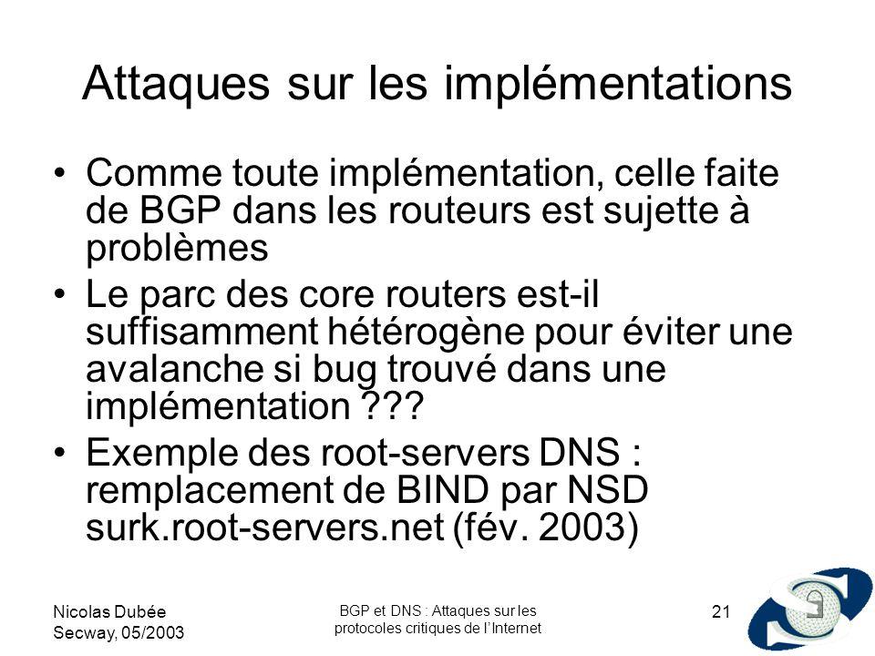 Nicolas Dubée Secway, 05/2003 BGP et DNS : Attaques sur les protocoles critiques de lInternet 21 Attaques sur les implémentations Comme toute implémen