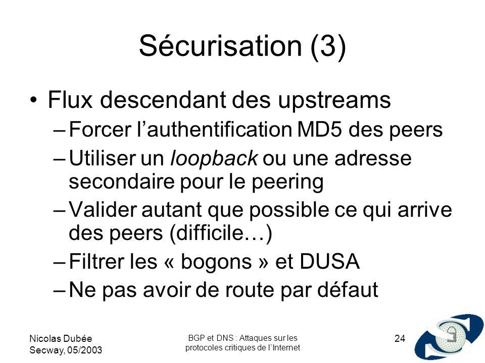 Nicolas Dubée Secway, 05/2003 BGP et DNS : Attaques sur les protocoles critiques de lInternet 24 Sécurisation (3) Flux descendant des upstreams –Force