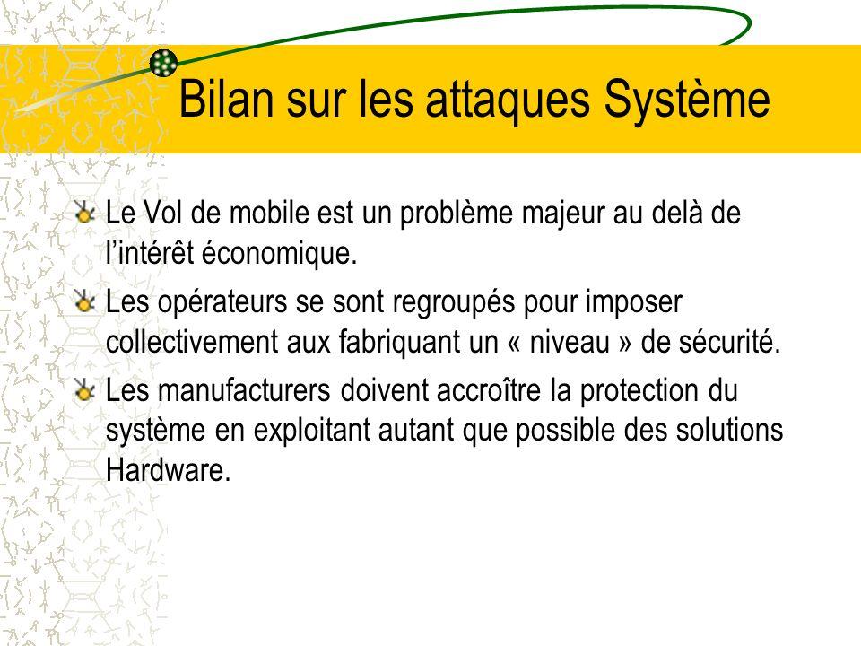 Bilan sur les attaques Système Le Vol de mobile est un problème majeur au delà de lintérêt économique.