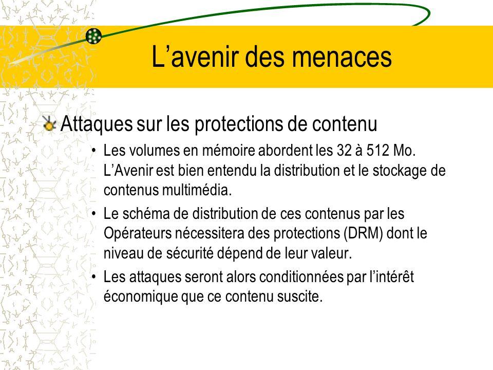 Lavenir des menaces Attaques sur les protections de contenu Les volumes en mémoire abordent les 32 à 512 Mo.