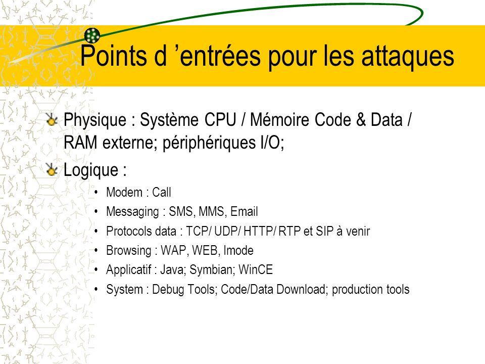 Points d entrées pour les attaques Physique : Système CPU / Mémoire Code & Data / RAM externe; périphériques I/O; Logique : Modem : Call Messaging : SMS, MMS, Email Protocols data : TCP/ UDP/ HTTP/ RTP et SIP à venir Browsing : WAP, WEB, Imode Applicatif : Java; Symbian; WinCE System : Debug Tools; Code/Data Download; production tools