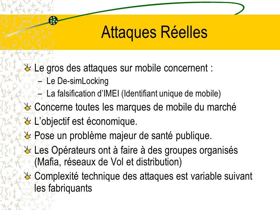 Attaques Réelles Le gros des attaques sur mobile concernent : –Le De-simLocking –La falsification dIMEI (Identifiant unique de mobile) Concerne toutes les marques de mobile du marché Lobjectif est économique.