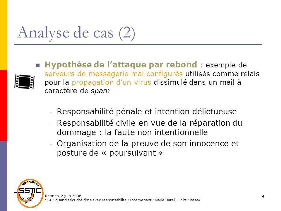 Rennes, 2 juin 2006 SSI : quand sécurité rime avec responsabilité / Intervenant : Marie Barel, Links Conseil 4 Analyse de cas (2) Hypothèse de lattaqu