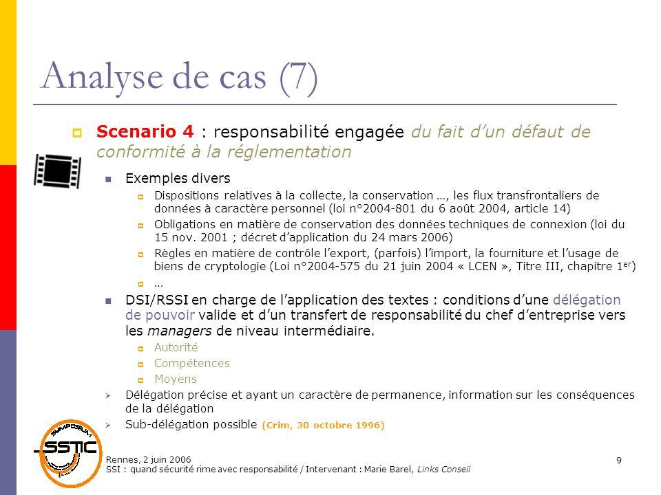 Rennes, 2 juin 2006 SSI : quand sécurité rime avec responsabilité / Intervenant : Marie Barel, Links Conseil 9 Analyse de cas (7) Scenario 4 : respons