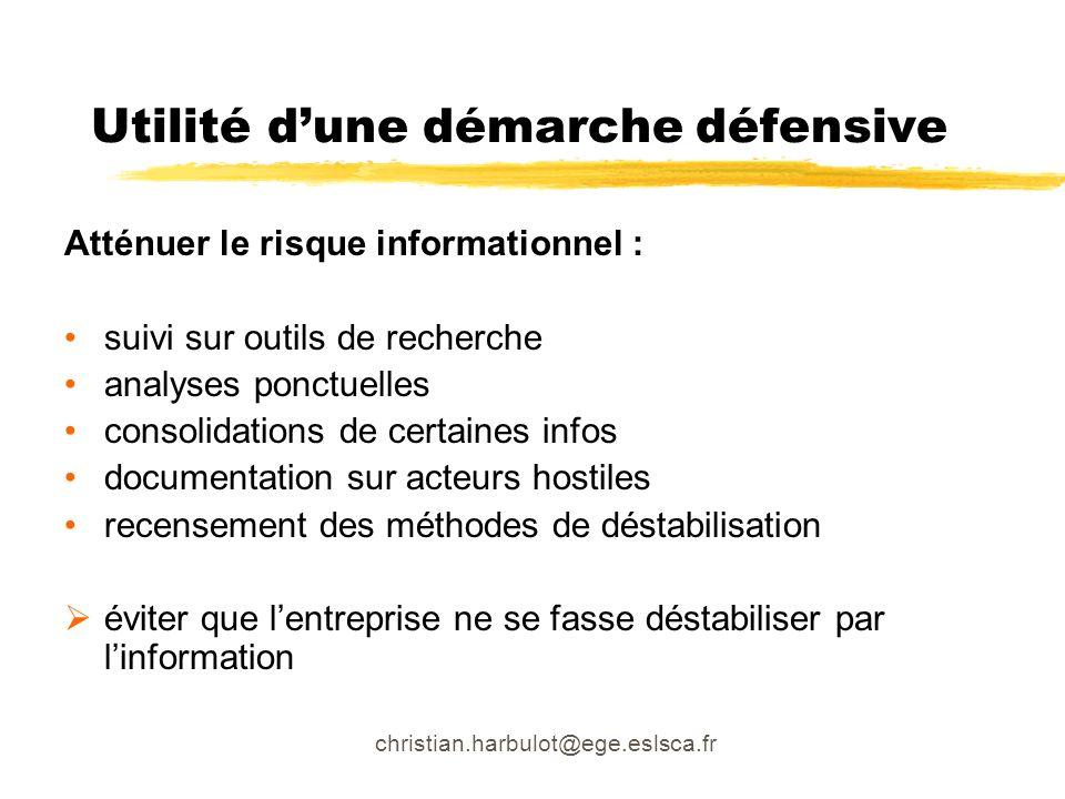 christian.harbulot@ege.eslsca.fr Atténuer le risque informationnel : suivi sur outils de recherche analyses ponctuelles consolidations de certaines in