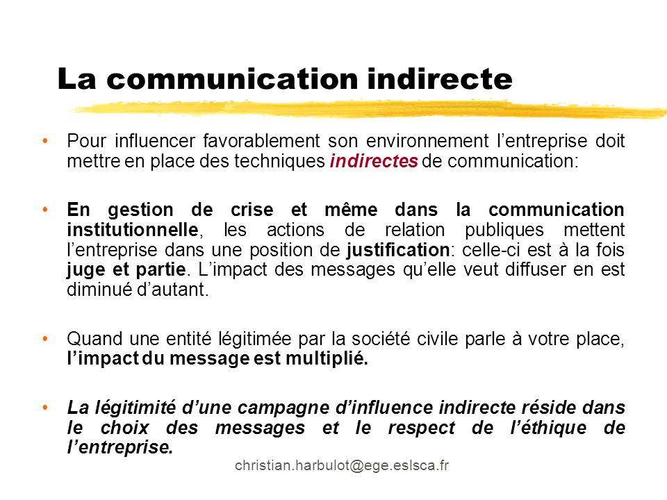 christian.harbulot@ege.eslsca.fr La communication indirecte Pour influencer favorablement son environnement lentreprise doit mettre en place des techn