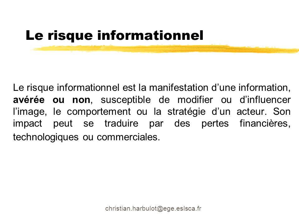 christian.harbulot@ege.eslsca.fr Le risque informationnel Le risque informationnel est la manifestation dune information, avérée ou non, susceptible d