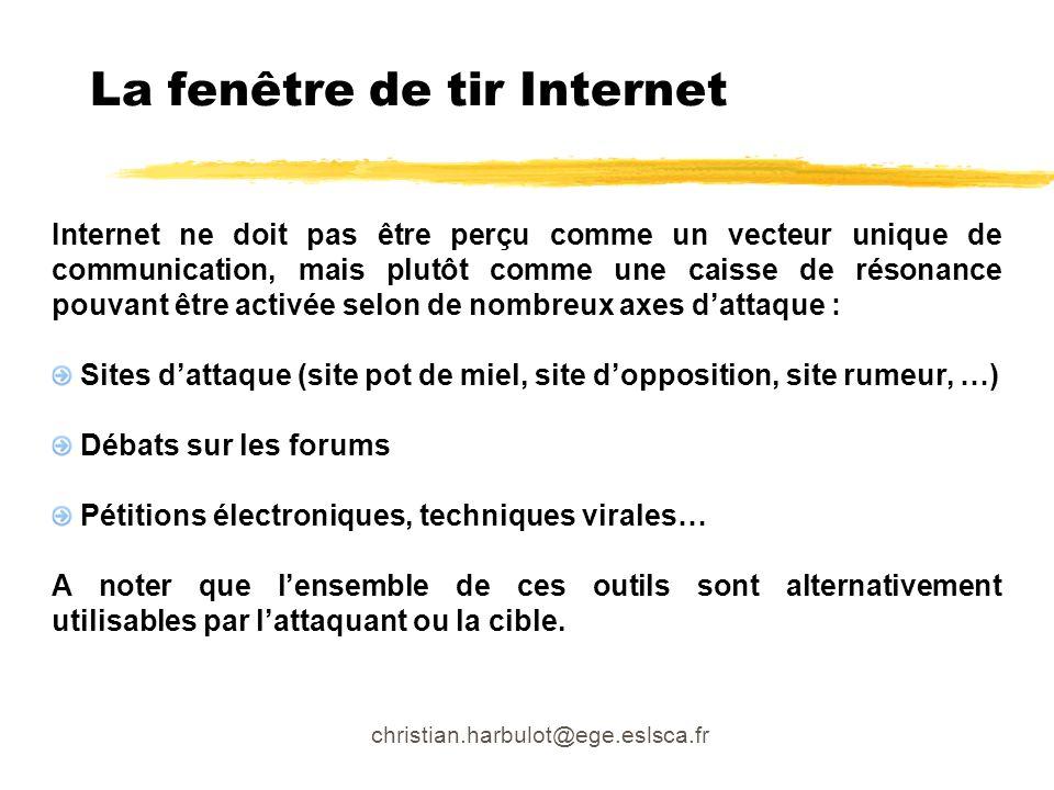 christian.harbulot@ege.eslsca.fr La fenêtre de tir Internet Internet ne doit pas être perçu comme un vecteur unique de communication, mais plutôt comm