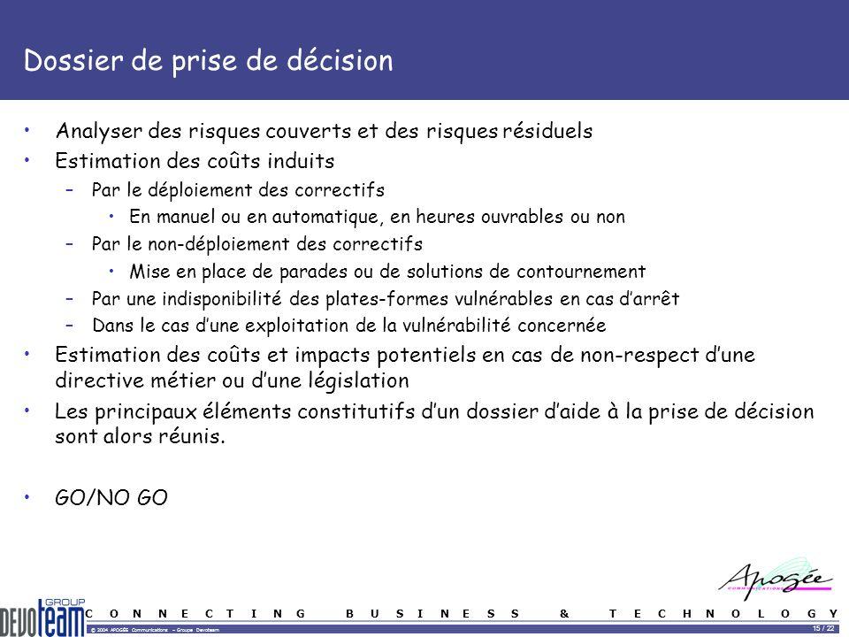 C O N N E C T I N G B U S I N E S S & T E C H N O L O G Y © 2004 APOGÉE Communications – Groupe Devoteam 15 / 22 Dossier de prise de décision Analyser