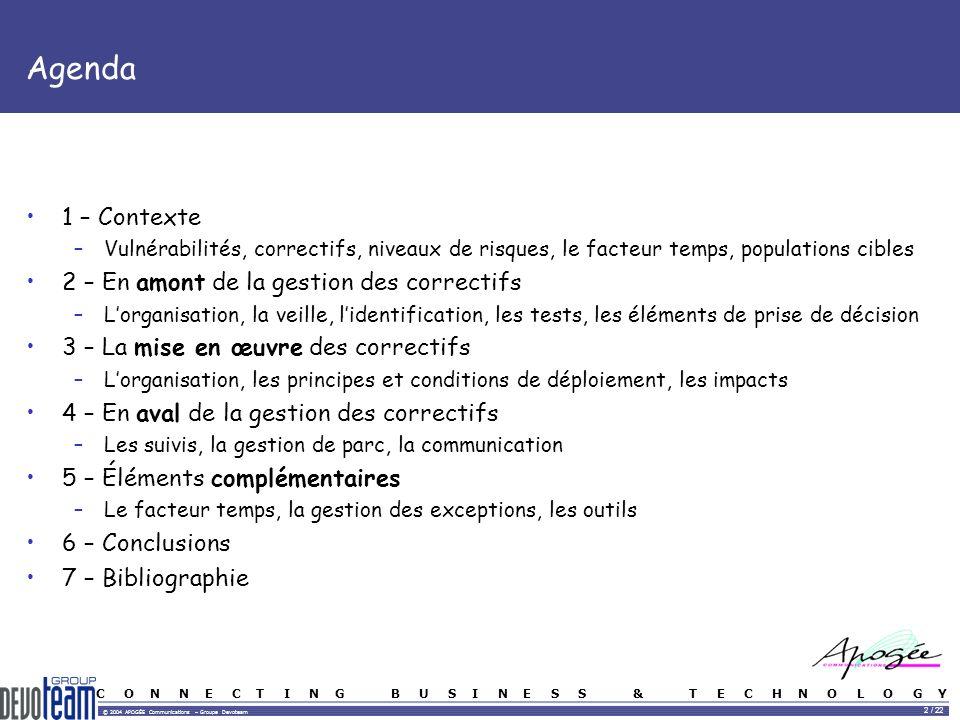 C O N N E C T I N G B U S I N E S S & T E C H N O L O G Y © 2004 APOGÉE Communications – Groupe Devoteam 2 / 22 Agenda 1 – Contexte –Vulnérabilités, c