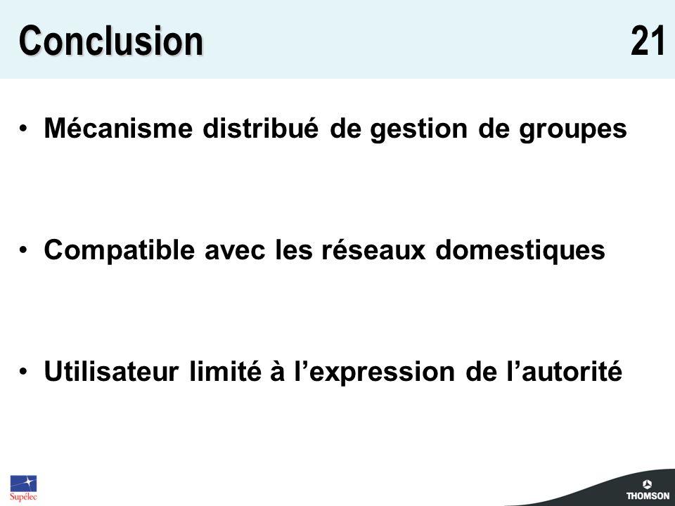 21Conclusion Mécanisme distribué de gestion de groupes Compatible avec les réseaux domestiques Utilisateur limité à lexpression de lautorité