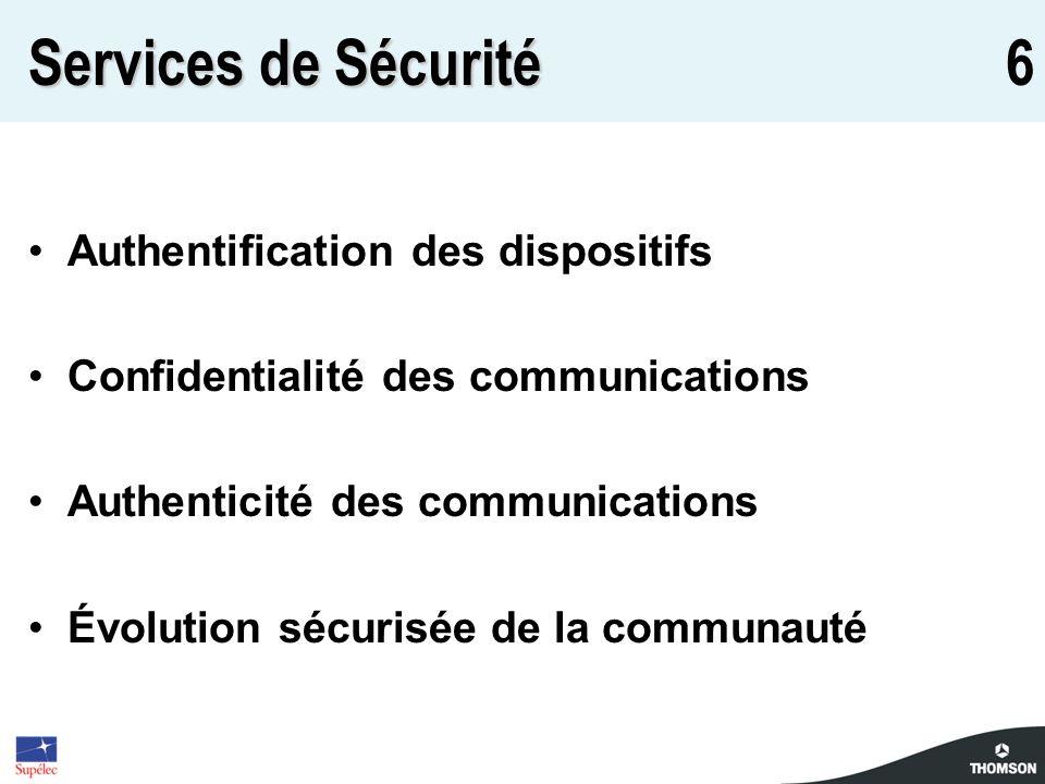 6 Services de Sécurité Authentification des dispositifs Confidentialité des communications Authenticité des communications Évolution sécurisée de la c