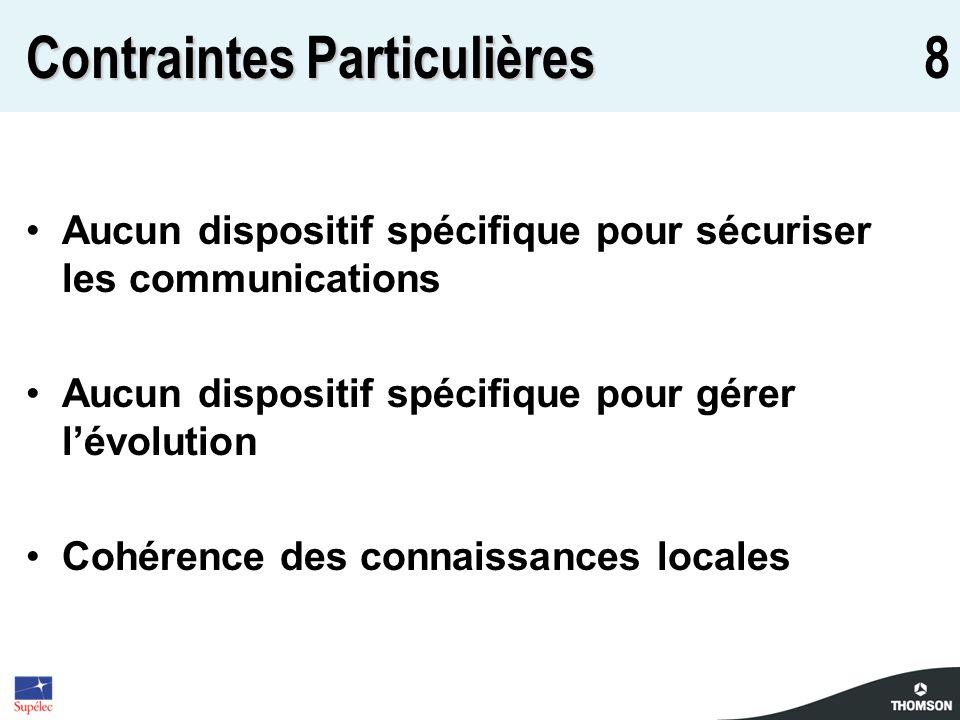 8 Contraintes Particulières Aucun dispositif spécifique pour sécuriser les communications Aucun dispositif spécifique pour gérer lévolution Cohérence des connaissances locales