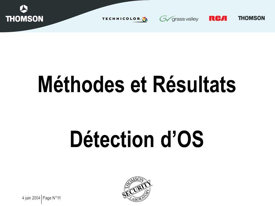 Page N°114 juin 2004 Méthodes et Résultats Détection dOS