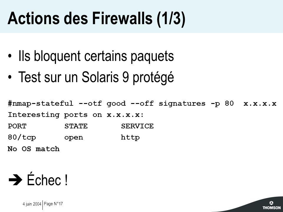 Page N°174 juin 2004 Actions des Firewalls (1/3) Ils bloquent certains paquets Test sur un Solaris 9 protégé #nmap-stateful --otf good --off signature