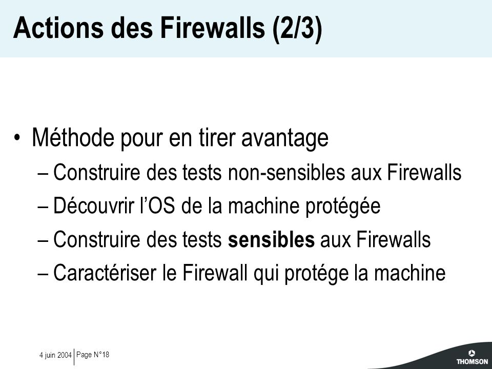 Page N°184 juin 2004 Actions des Firewalls (2/3) Méthode pour en tirer avantage –Construire des tests non-sensibles aux Firewalls –Découvrir lOS de la