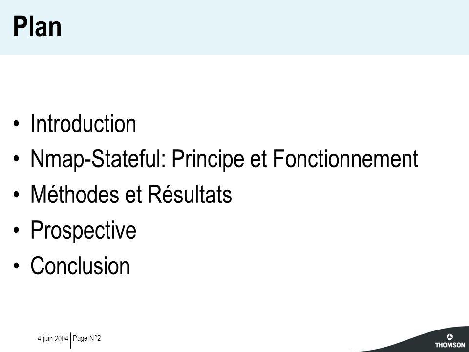 Page N°24 juin 2004 Plan Introduction Nmap-Stateful: Principe et Fonctionnement Méthodes et Résultats Prospective Conclusion